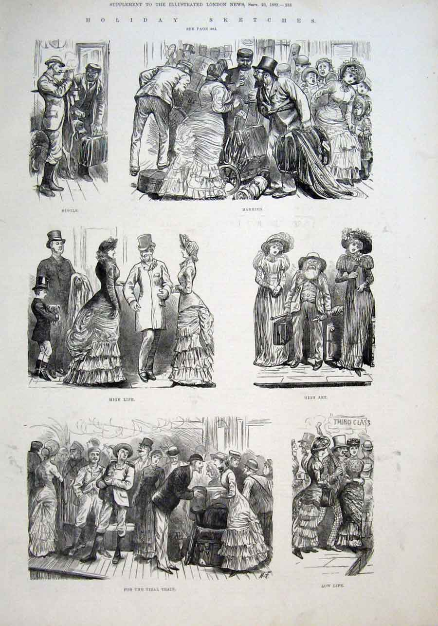 Print Single Or Married Holiday Sketches 1882 33Aaa1 Old Original