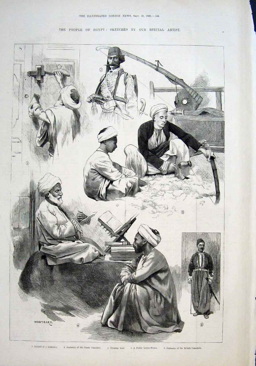 Print The People Egypt 1882 Letter Writer 44Aaa1 Old Original