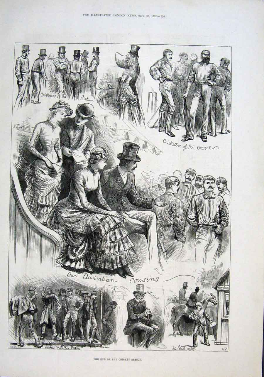 Print The End The Cricket Season 1882 53Aaa1 Old Original