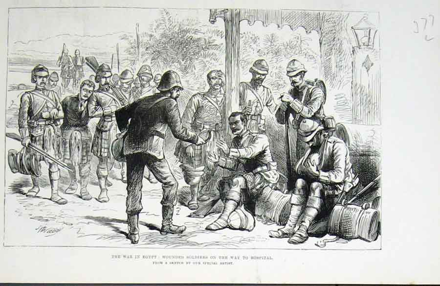 [Print Wounded Soldiers On Way To Hospital 1882 War Egypt 77Laaa1 Old Original]
