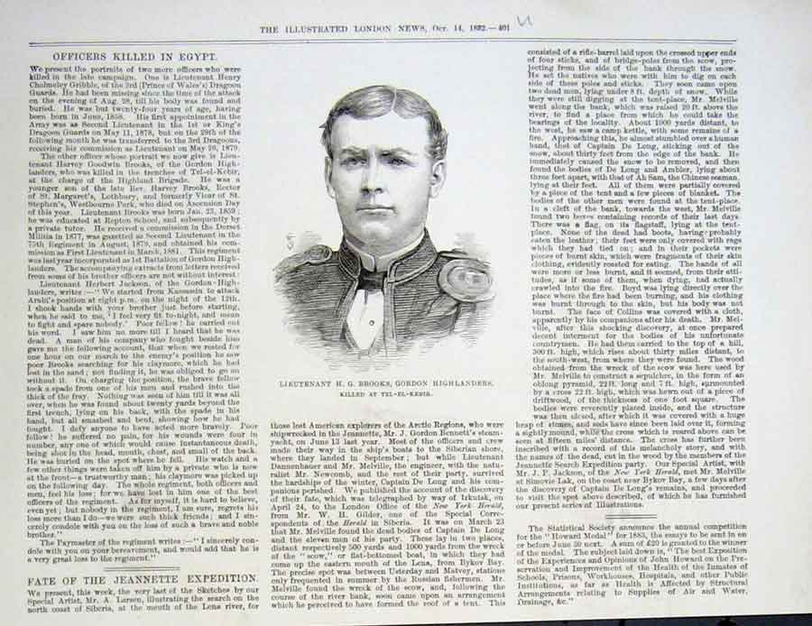 Print Portrait Lt Brooks Gordon Highlanders 1882 01Uaaa1 Old Original
