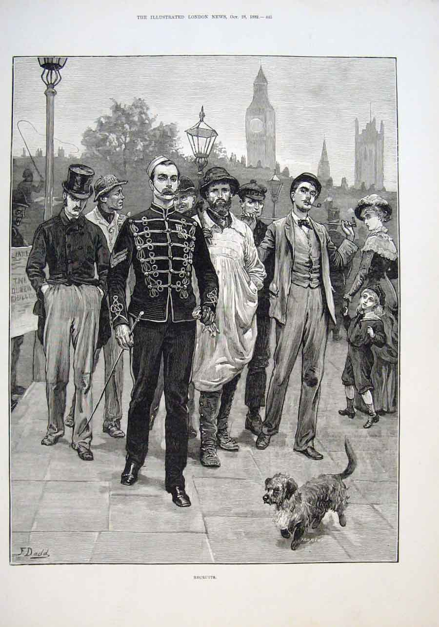 Print Recruits For The Army 1882 45Aaa1 Old Original