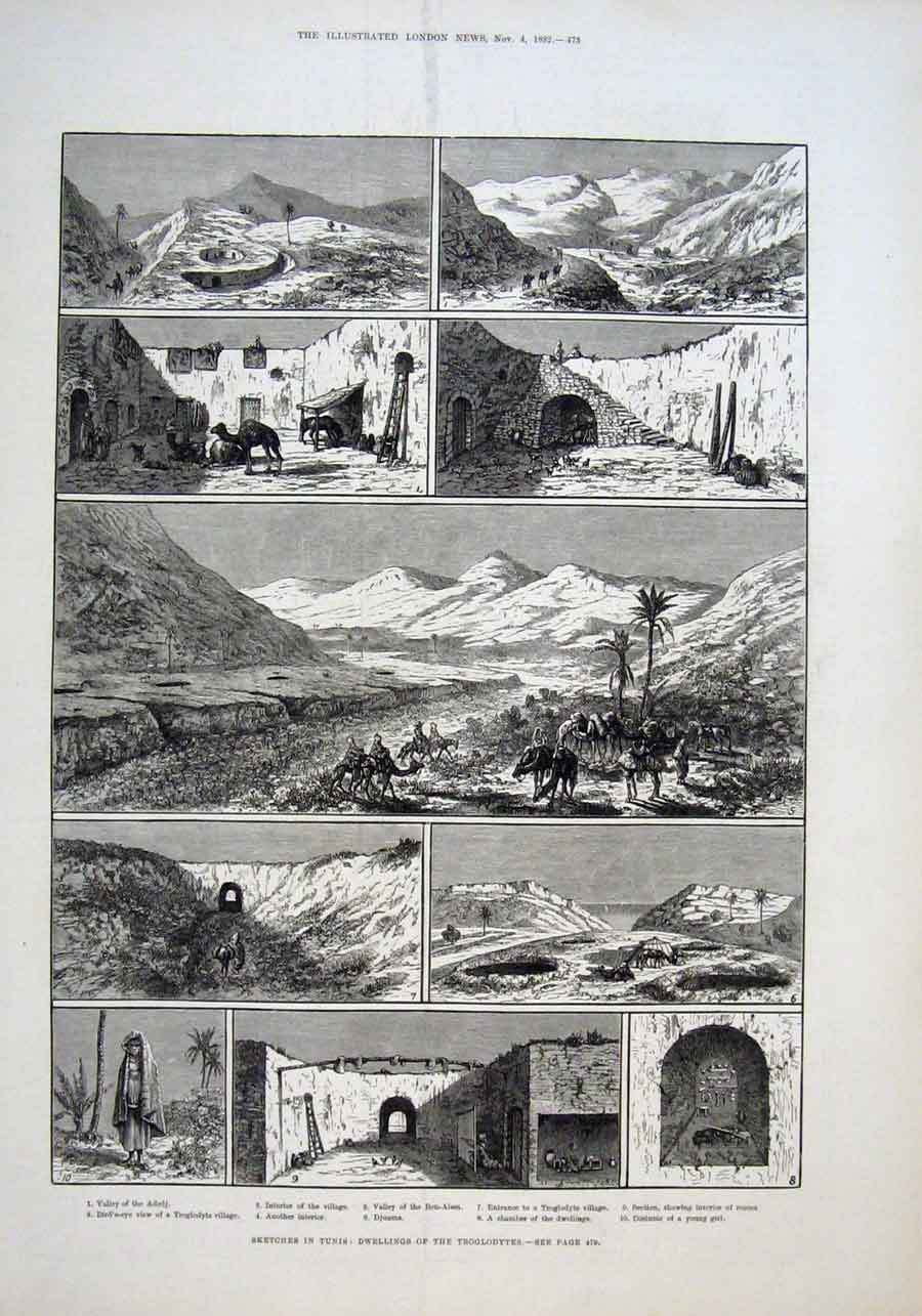 Print Tunis Sketches Dwellings Troglodytes 1882 73Aaa1 Old Original