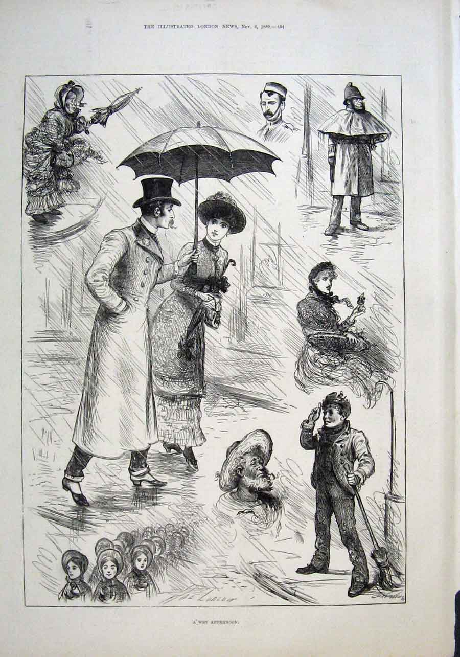 Print A Wet Afternoon In London 1882 84Aaa1 Old Original