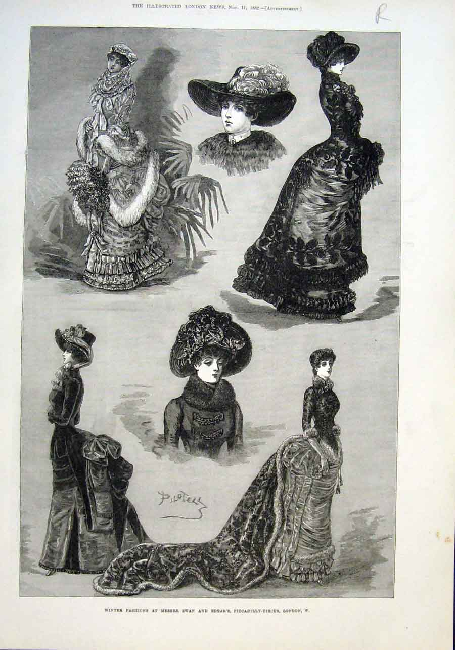 Print Winter Fashions Piccadilly & Glacier Engadine 1882 08Raaa1 Old Original