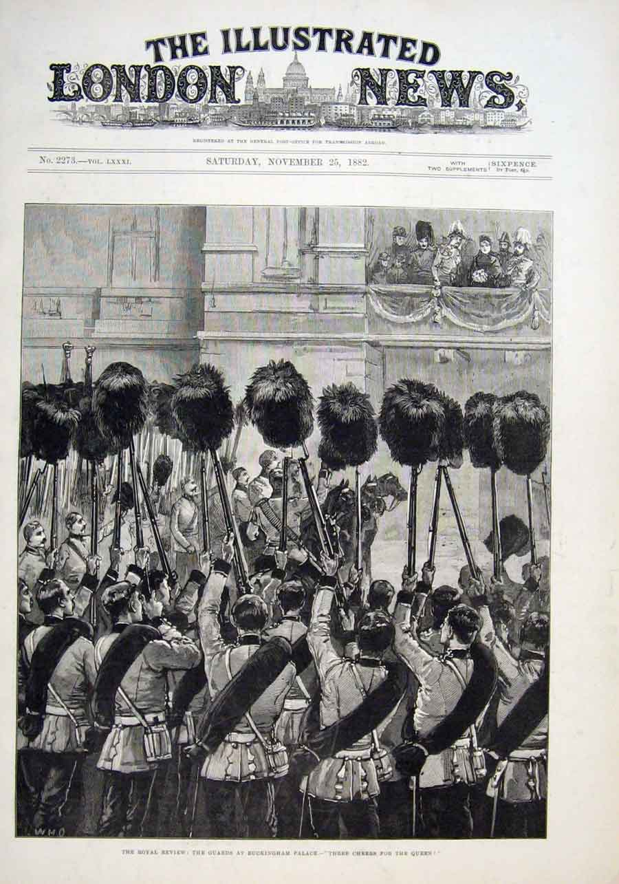 Print The Guards At Buckingham Palace 1882 34Aaa1 Old Original
