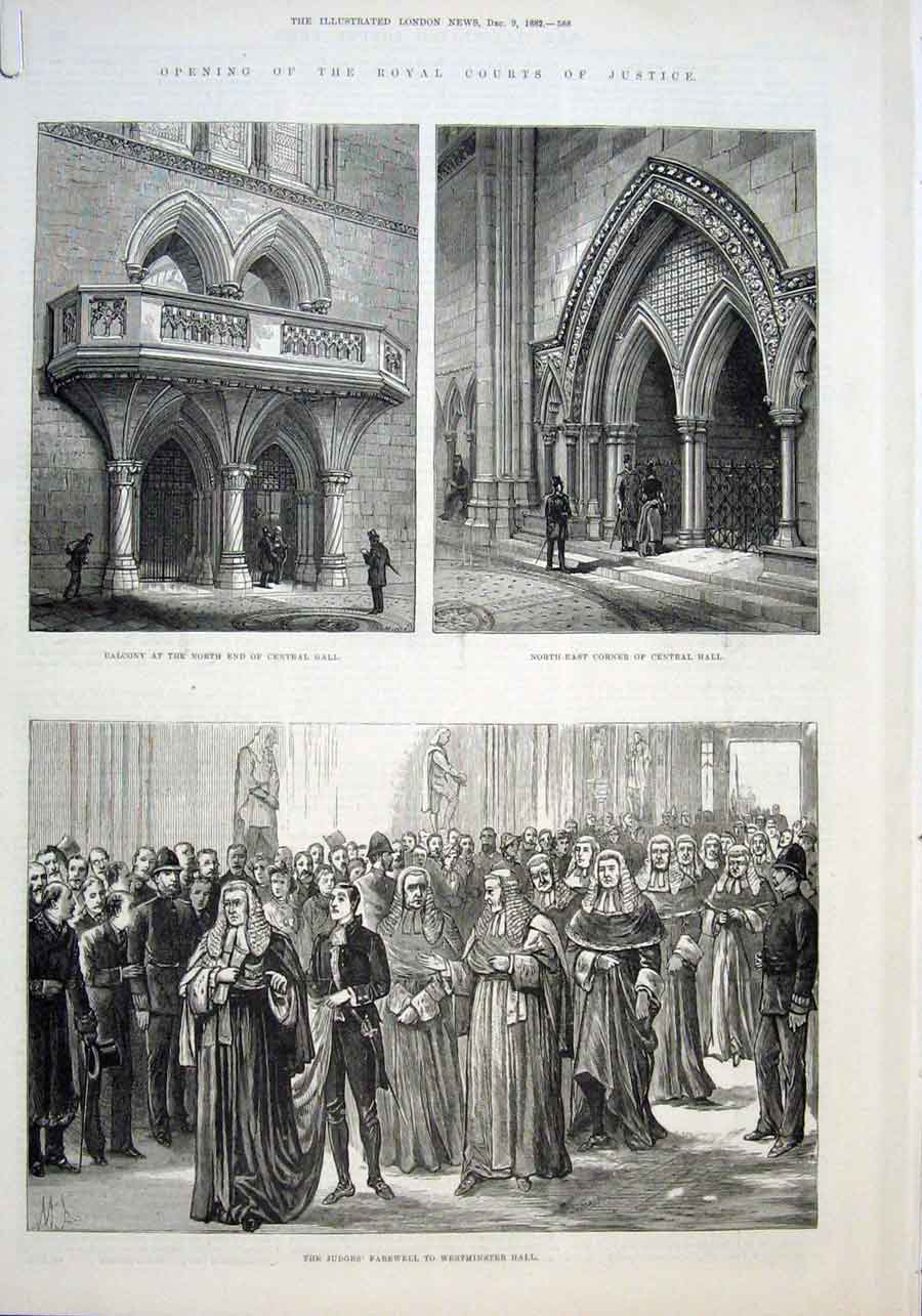 Print 1882 Opening Royal Courts Justice London 88Aaaa1 Old Original