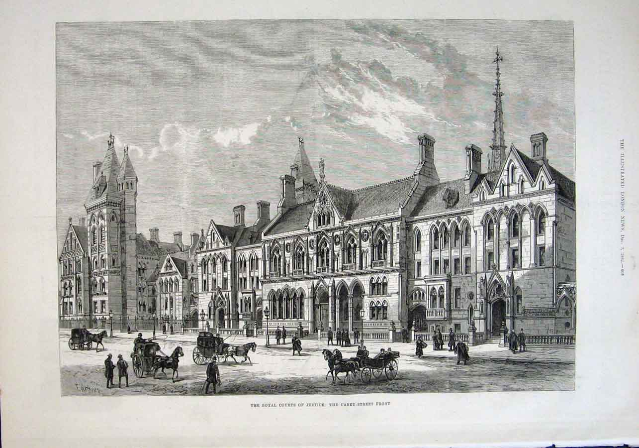 Print Royal Courts Justice Carey Street Front 1882 08Aaa1 Old Original