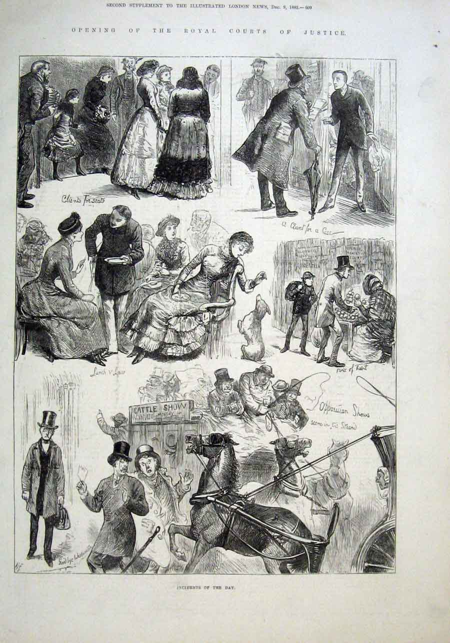 Print Incidents Day Royal Courts Justice Iopened 1882 09Aaa1 Old Original