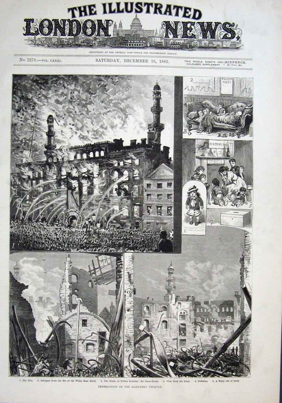 Print Destruction Alhambra Theatre 1882 18Aaa1 Old Original