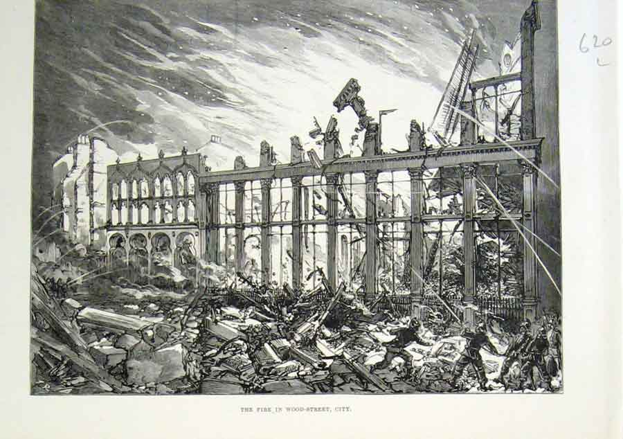Print Fire Wood Street London City 1882 20Laaa1 Old Original