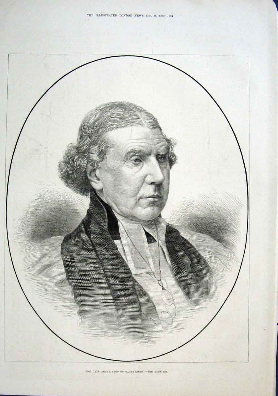Print The Late Arch Bishop Canterbury 1882 24Aaa1 Old Original