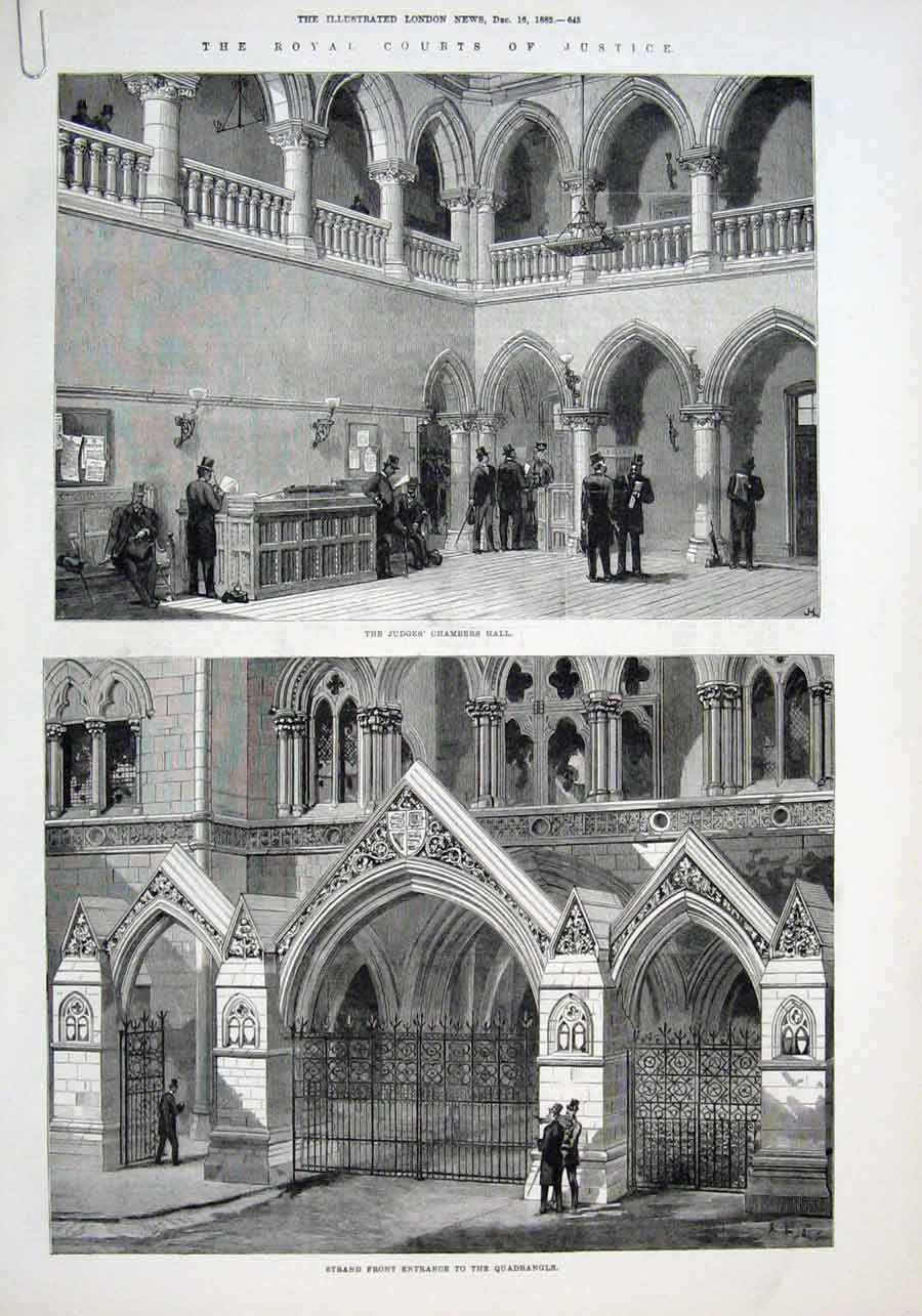 Print New Law Knights & Royal Courts Justice London 1882 45Aaaa1 Old Original