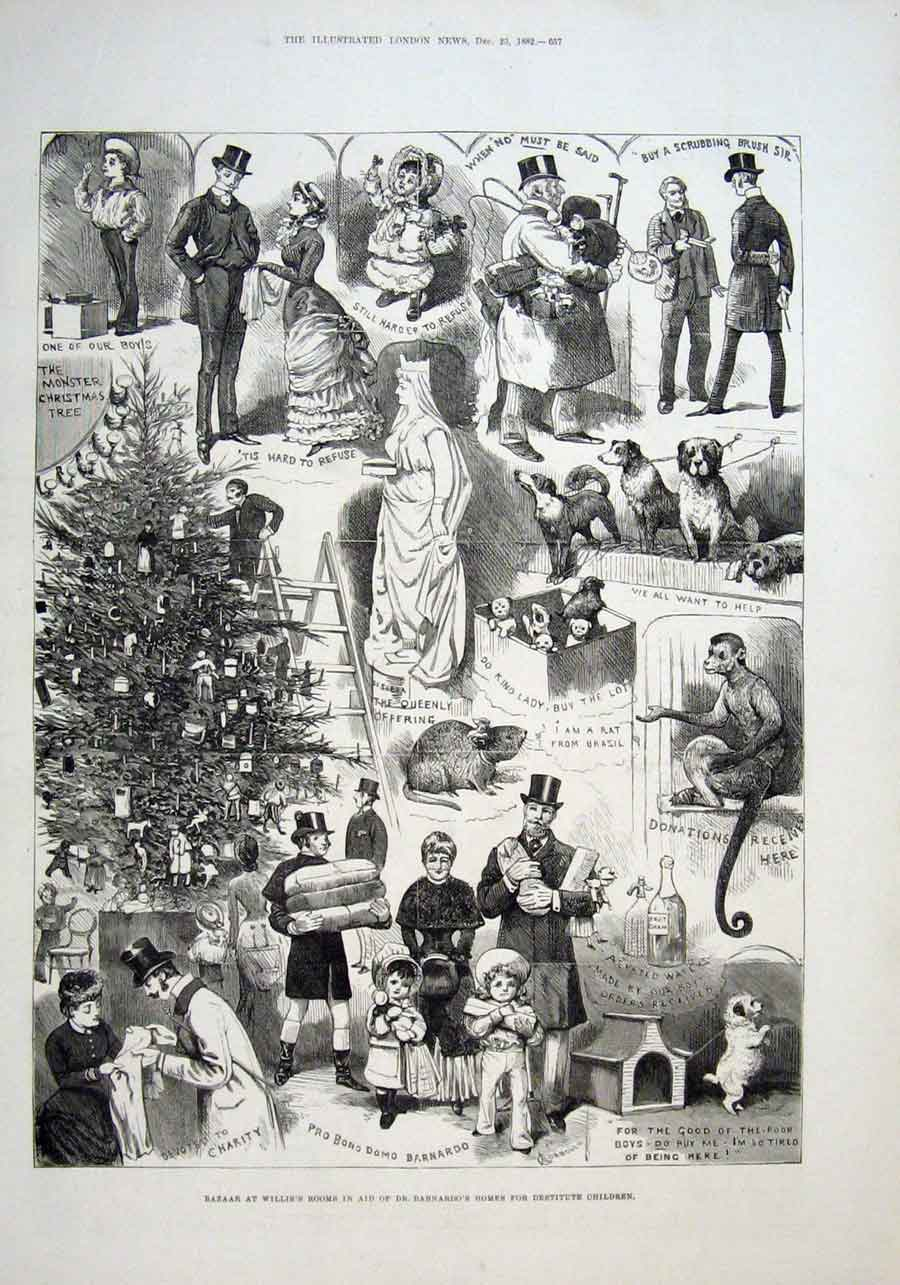 Print 1882 Bazaar At Willis Rooms For Dr Barnardos Homes 57Aaa1 Old Original