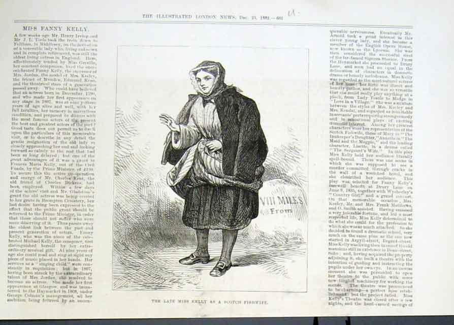 Print Miss Kelly As Scotch Fishwife 1882 Theat 61Uaaa1 Old Original
