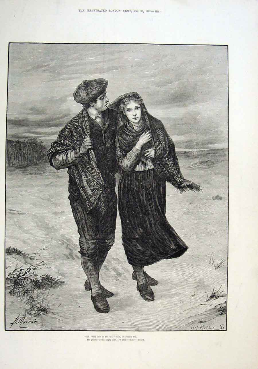 Print Courting On Sea Shore 1882 Fine Art 85Aaa1 Old Original