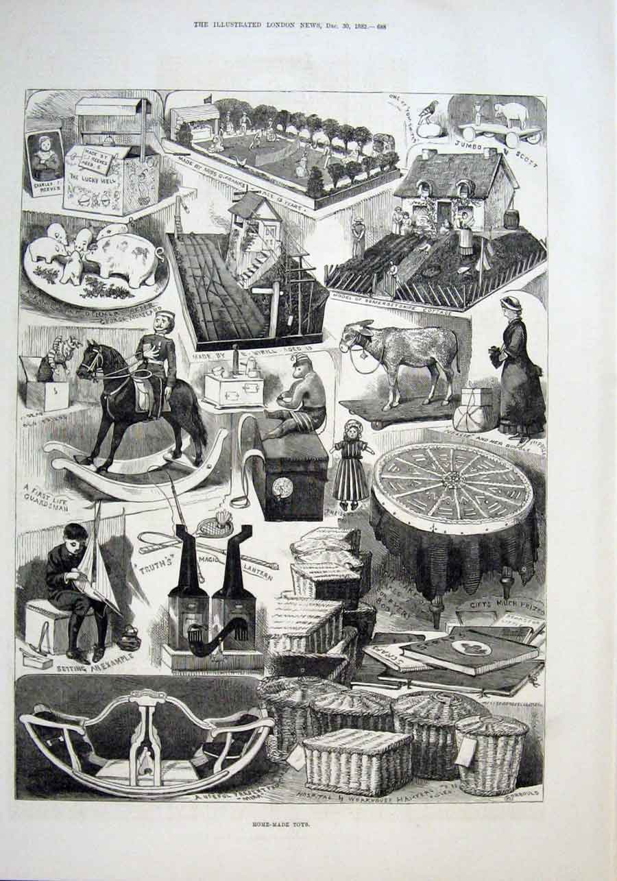 Print Home Made Toys 1882 Toymaking 88Aaa1 Old Original