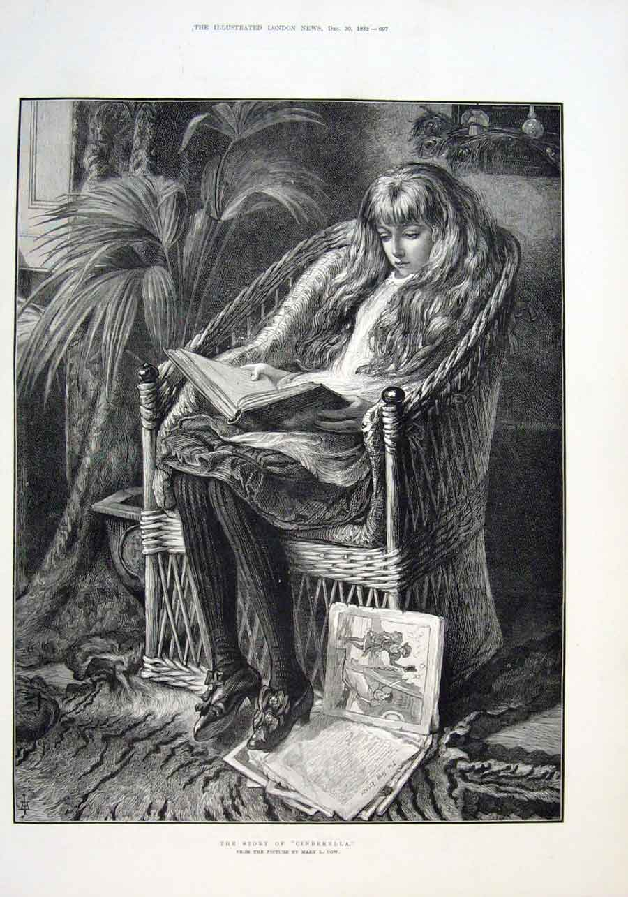 Print The Story Cinderella By Mary Gow 1882 Fine Art 97Aaa1 Old Original