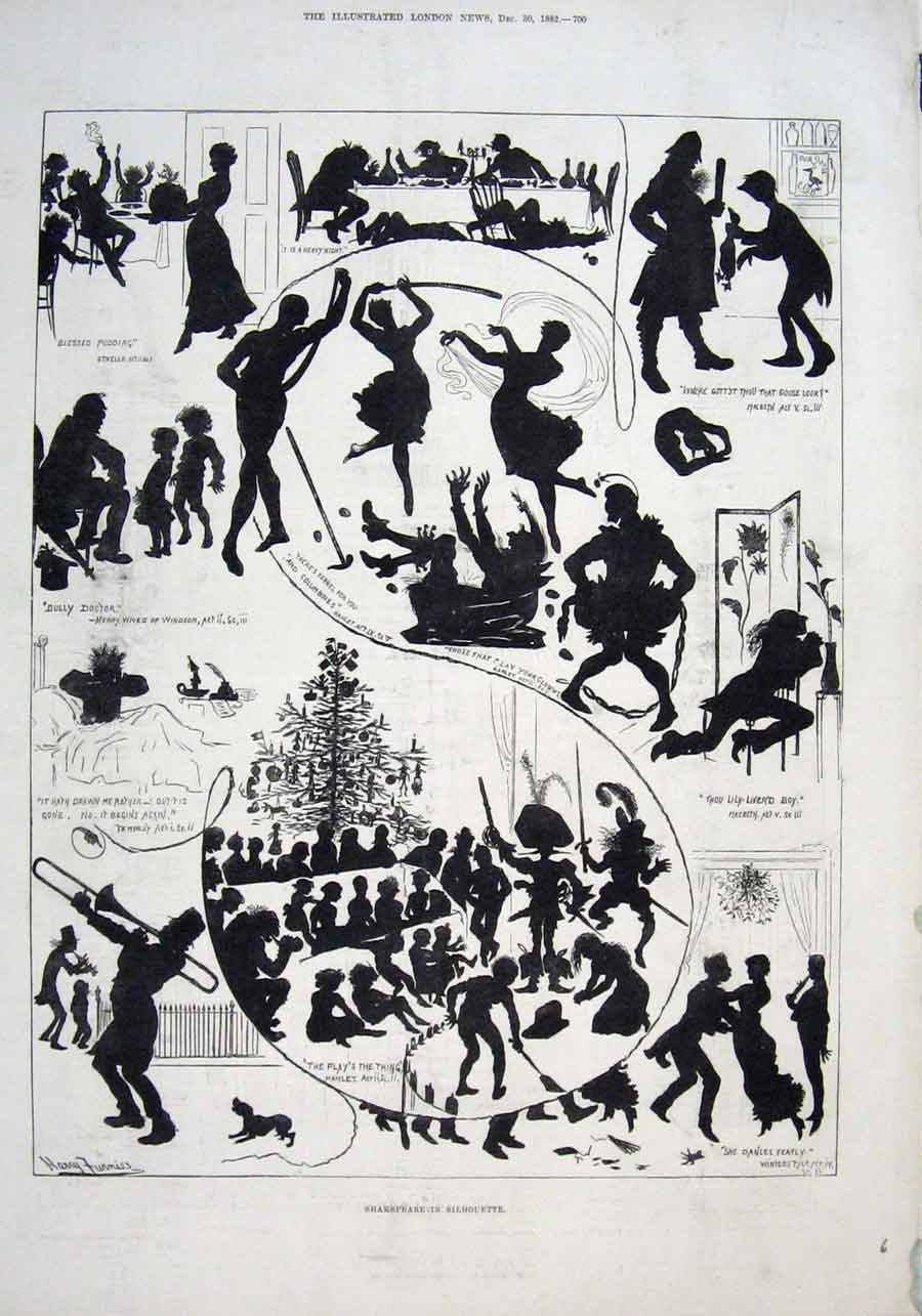Print John Brinstead Piano Factory 1882 & Shakespear Silhoutt 00Raaa1 Old Original