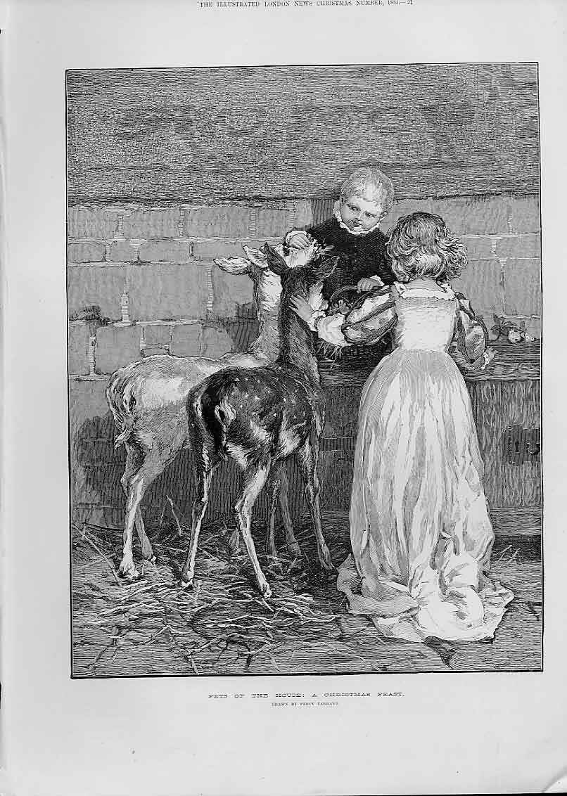 Print Pets The House A Christmas Feast By Percy Tarrant 21Aaa1 Old Original