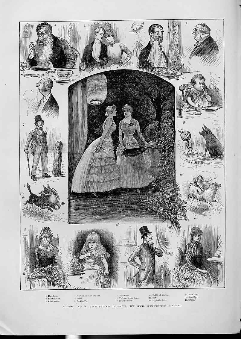 Print Notes At Christmas Dinner For Dyspeptic Artists 1883 28Aaa1 Old Original