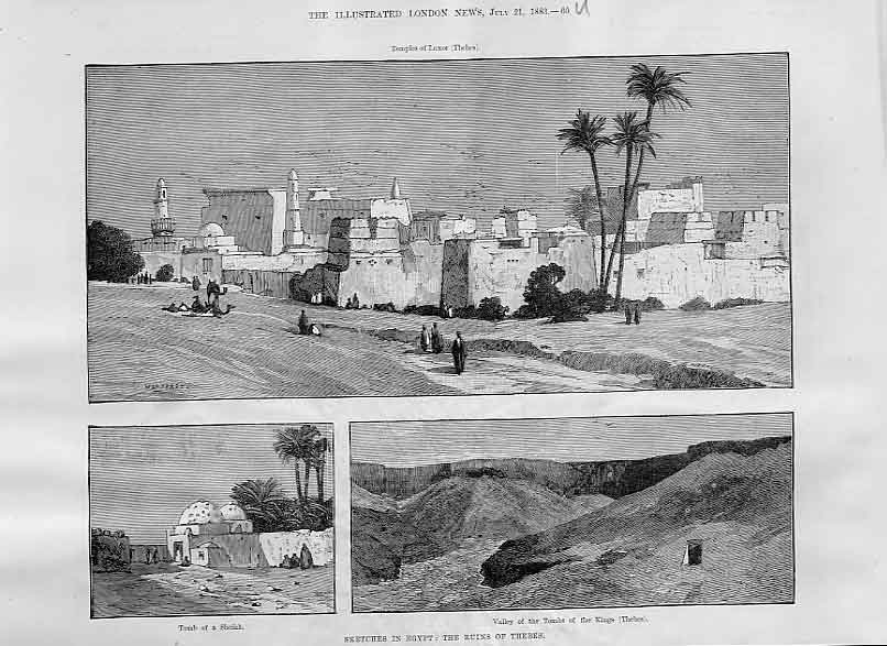 Print Ruins Thebes Egypt 1883 60Uaaa1 Old Original