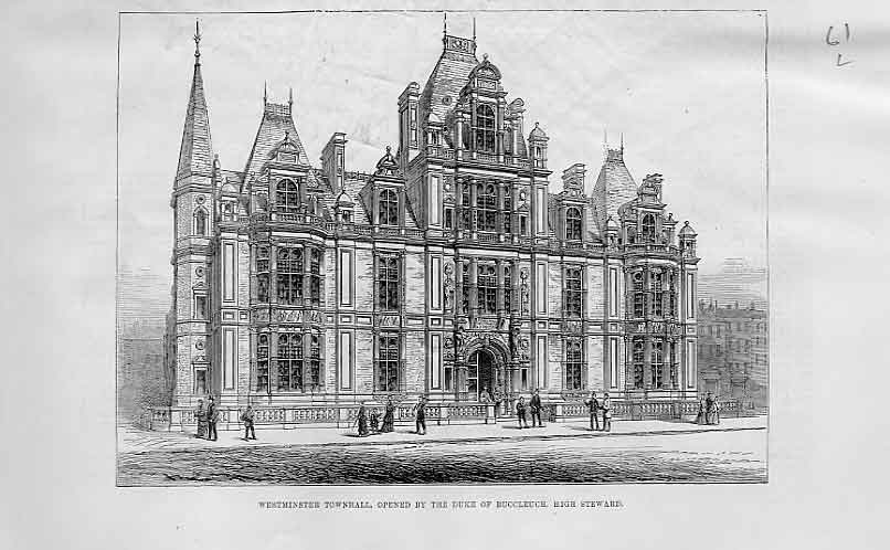 Print Westminister Town Hall Oppened 1883 61Laaa1 Old Original