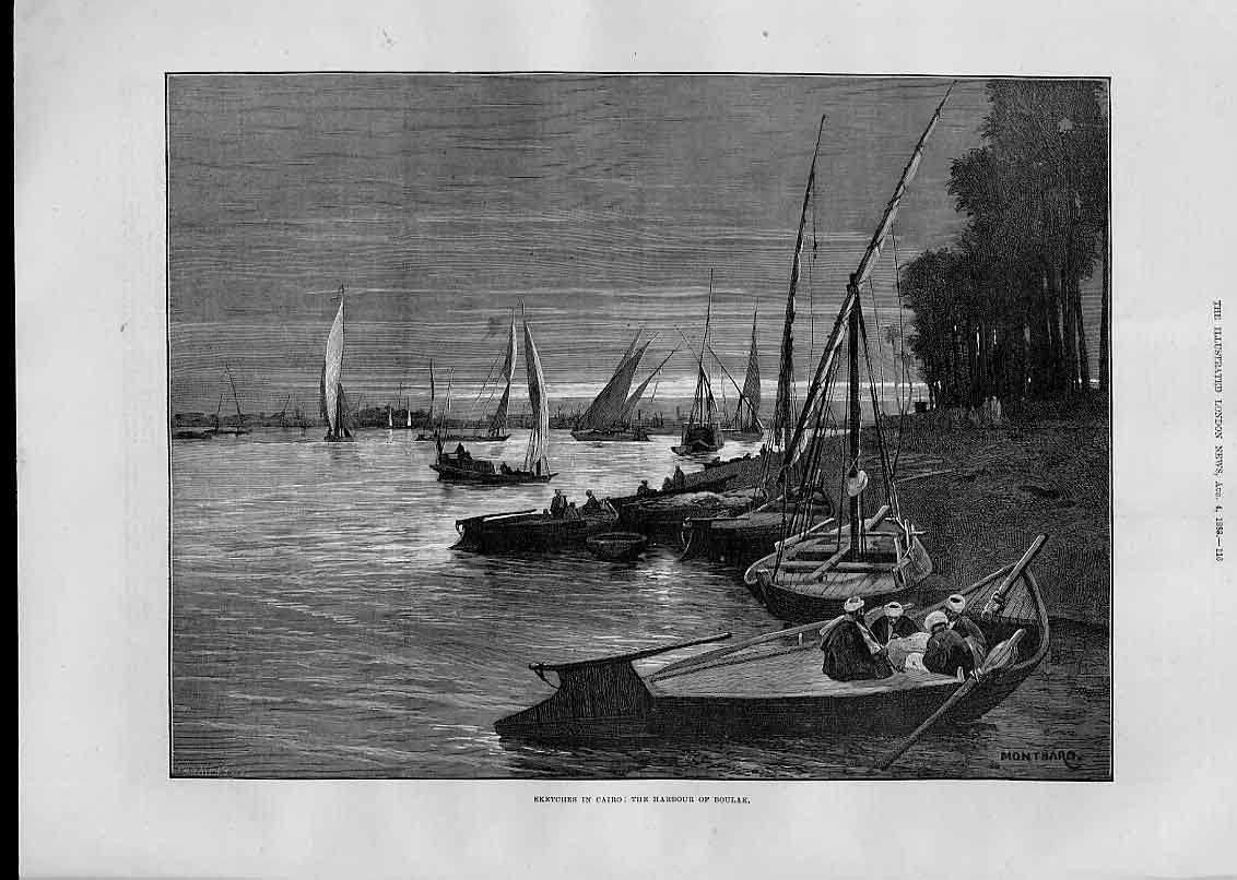 Print Harbour Boulak Cairo 1883 Egypt 16Aaa1 Old Original