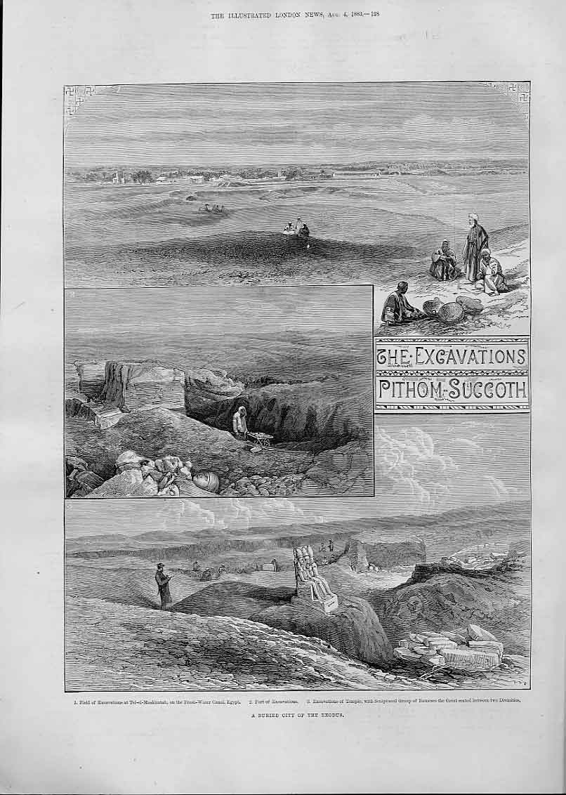 Print Excavations Pithom Succoth Buried City Egypt 28Aaa1 Old Original