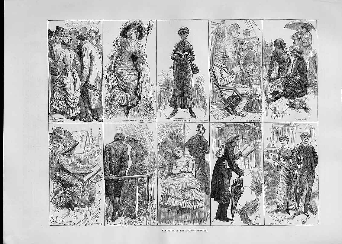 Print 1883 Tourist Species French English Americans 41Aaa1 Old Original