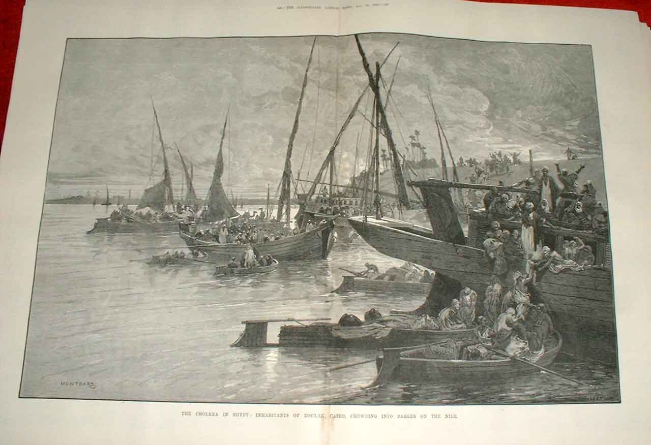 Print Barges On Nile Boulak Cairo Egypt With Cholera 1883 47Taaa1 Old Original