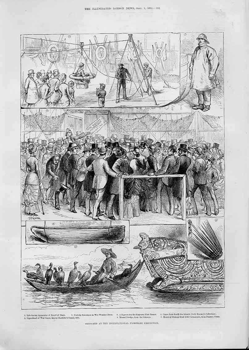Print Mussel Dredge From Orkneys At Fisheries Exhibition 1883 24Aaa1 Old Original