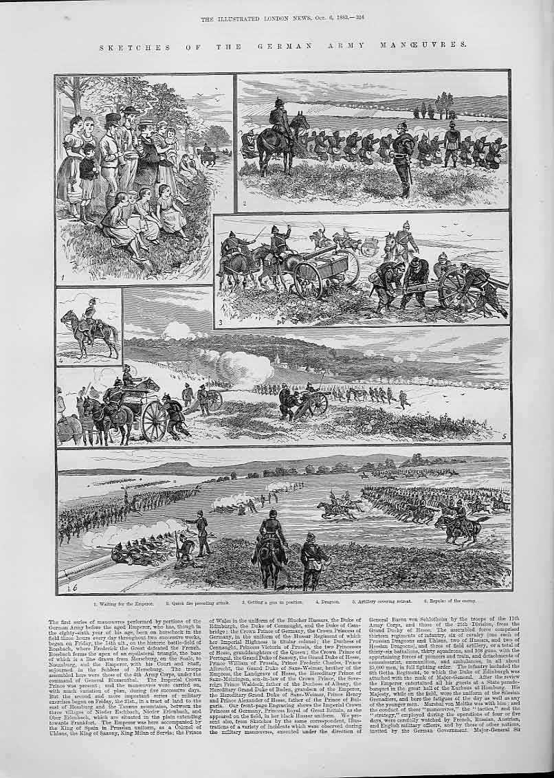 Print German Army Manoeuvres Rossbach 1883 24Aaa1 Old Original