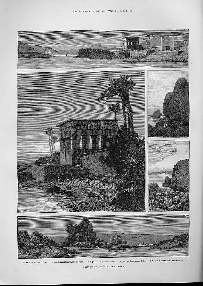 Print Sketches Nile Philae Egypt 1883 40Aaa1 Old Original