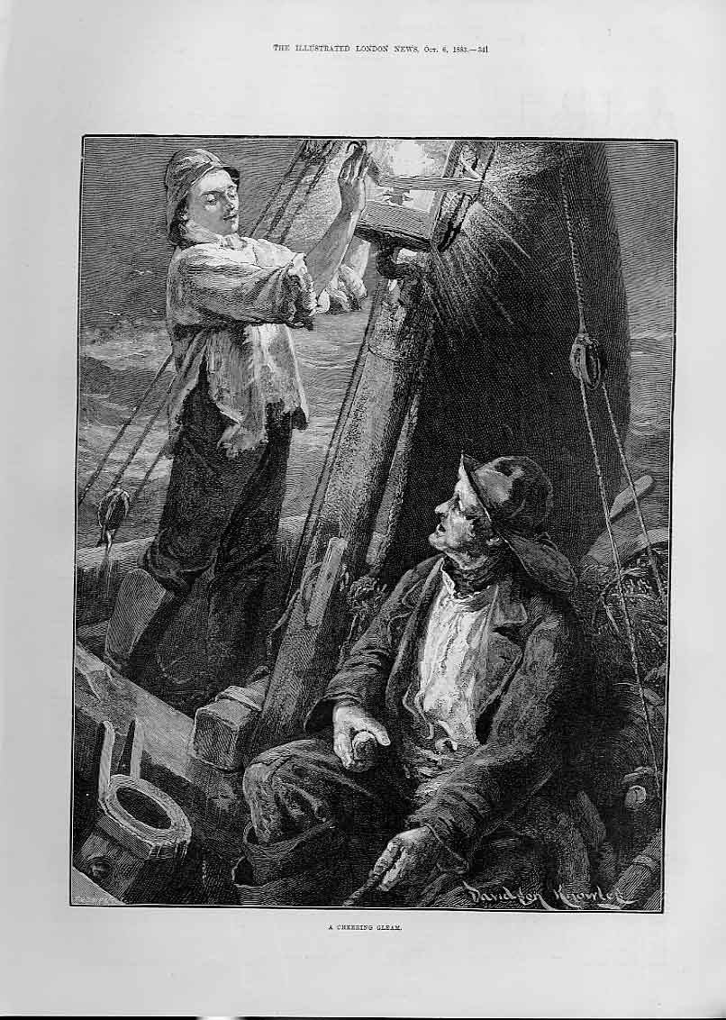 Print At Sea A Cheering Gleam Fine Art 1883 41Aaa1 Old Original