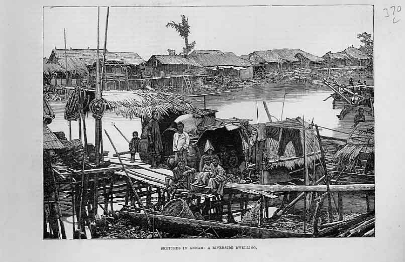 Print Riverside Dwelling Annam China 1883 70Laaa1 Old Original