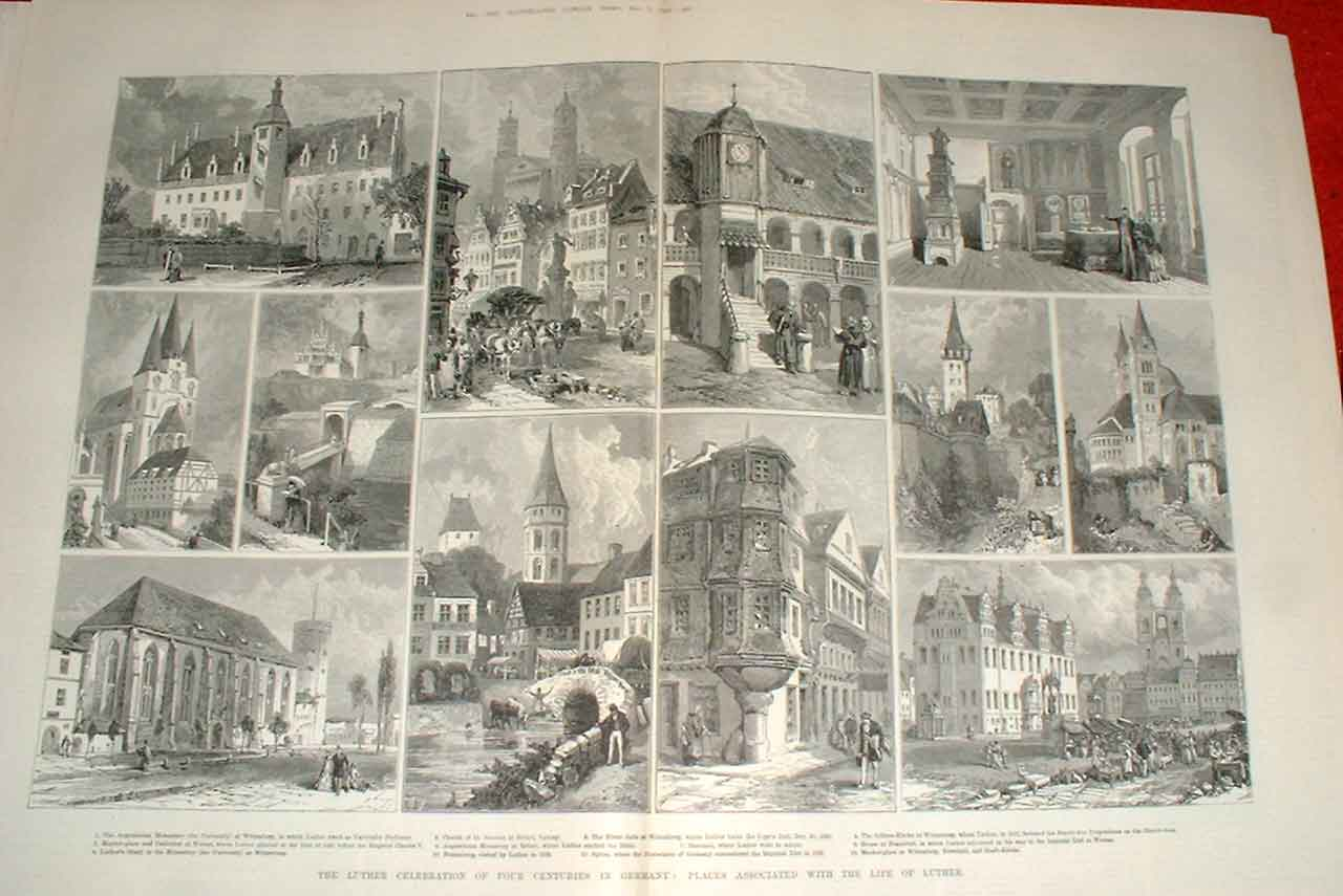 Print Places Associated With Life Luther Germany 1883 43Taaa1 Old Original