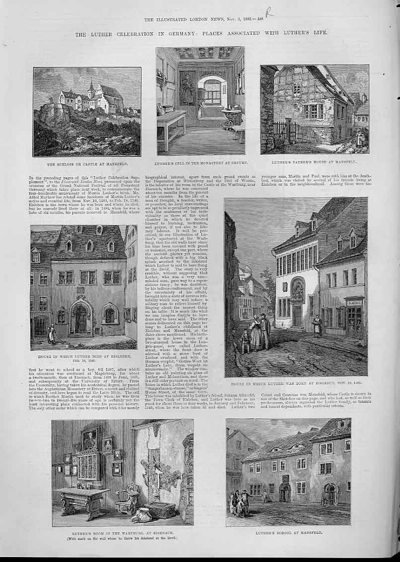 Print Places In Life Luther Germany Mansfield 48Aaa1 Old Original