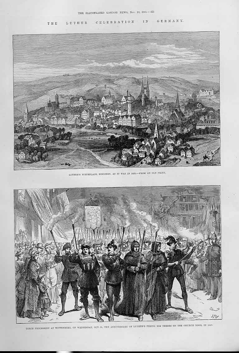 Print Luther Celebration Germany Eisleben As It Was In 1650 53Aaa1 Old Original