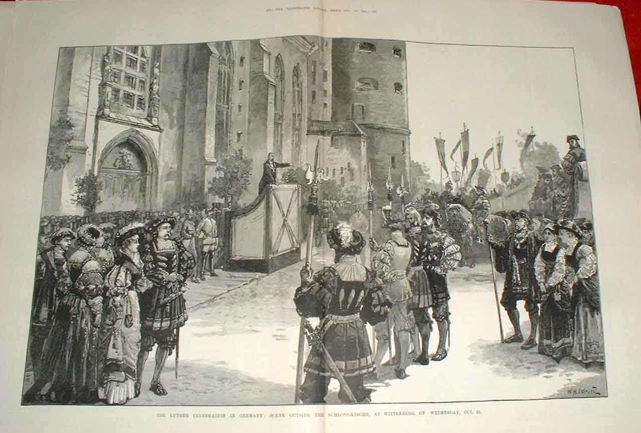 Print Luther Celebration Germany Schloss Kirche Wittenberg 18 55Taaa1 Old Original