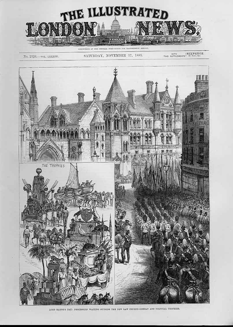 Print New Law Courts London 1883 Indian Trophies 74Aaa1 Old Original