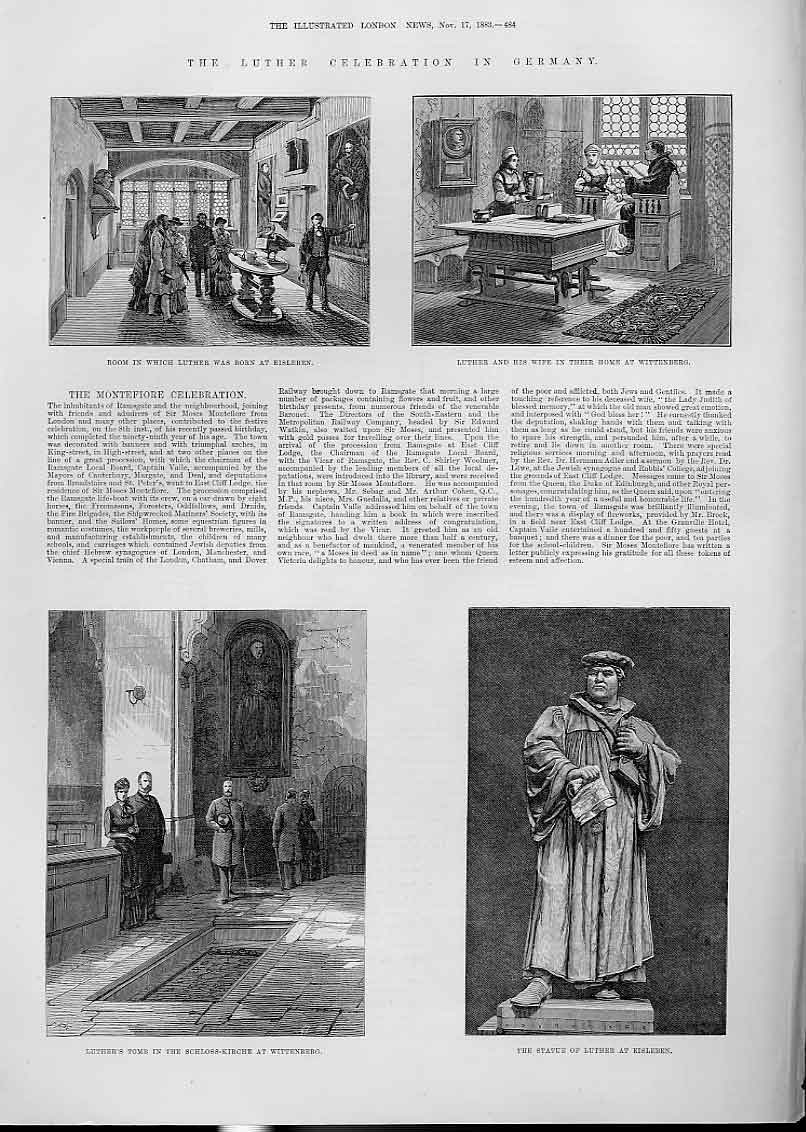 Print Luther Celebration Germany Room In Which He Was Born 84Aaa1 Old Original