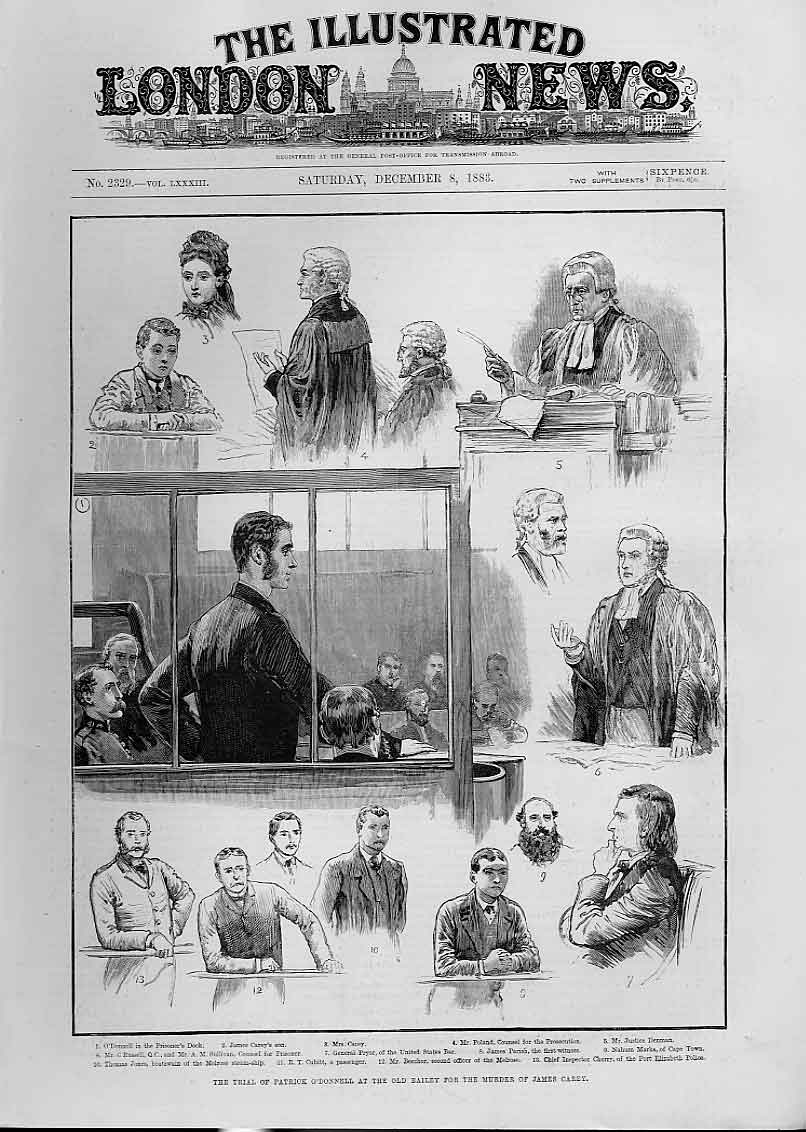 Print Trial Patrick O'Donnell Bailey For Murder Casey 46Aaa1 Old Original