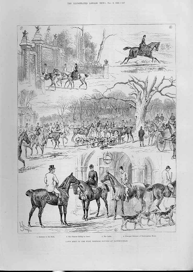 Print Lawn Meet Norfolk Fox Hounds At Sandringham 1883 57Aaa1 Old Original
