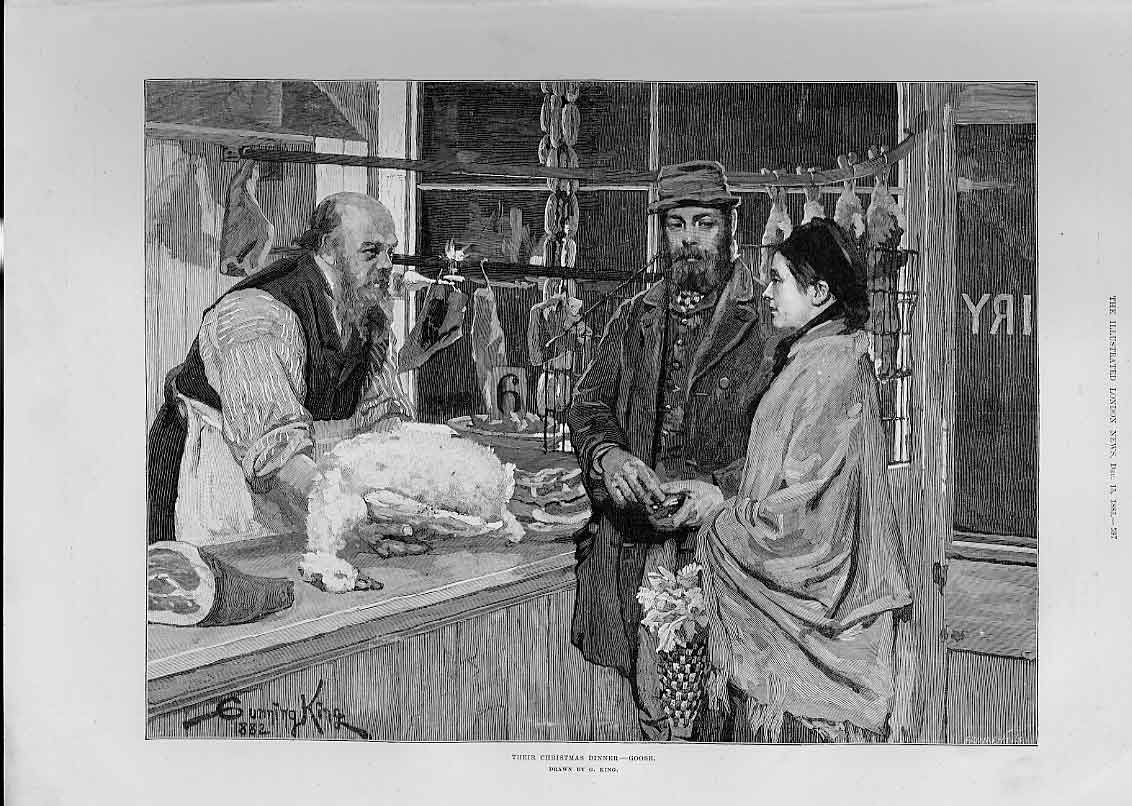 Print Purchase Their Christmas Dinner A Goose 97Aaa1 Old Original