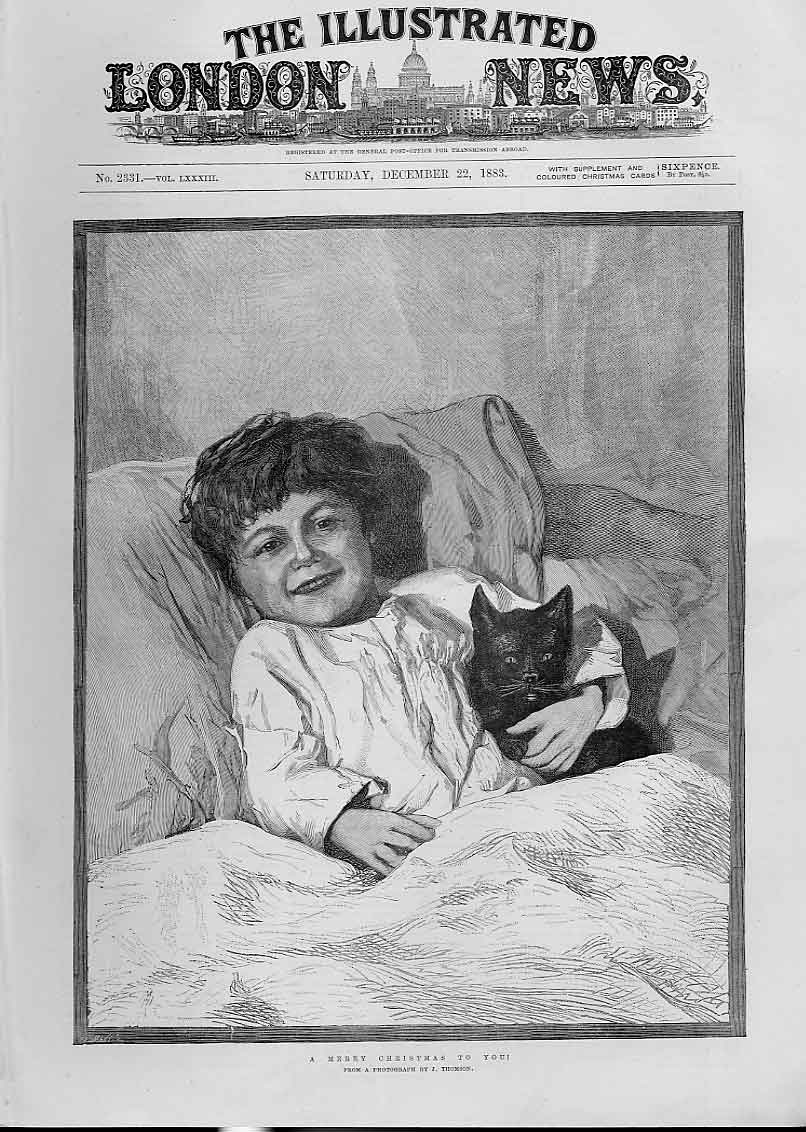 Print Merry Christmas To You From A Boy & Cat 02Aaa1 Old Original
