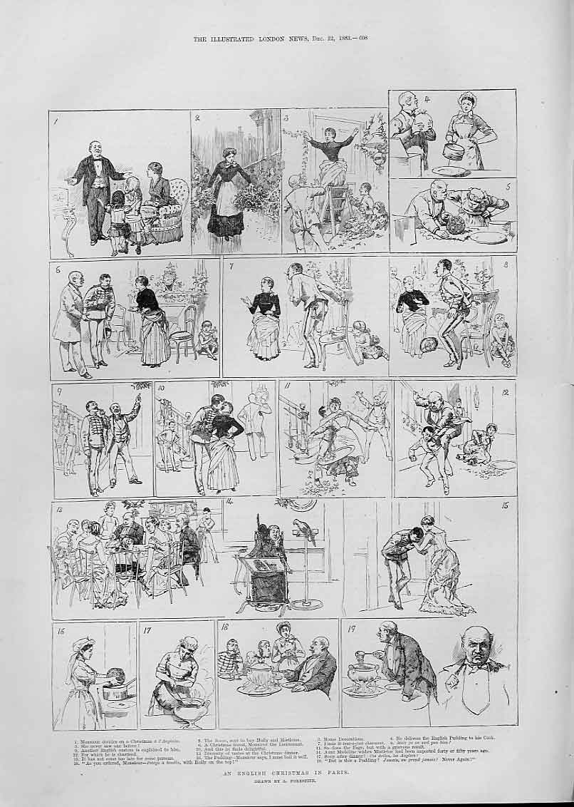 Print English Christmas In Paris France 1883 08Aaa1 Old Original