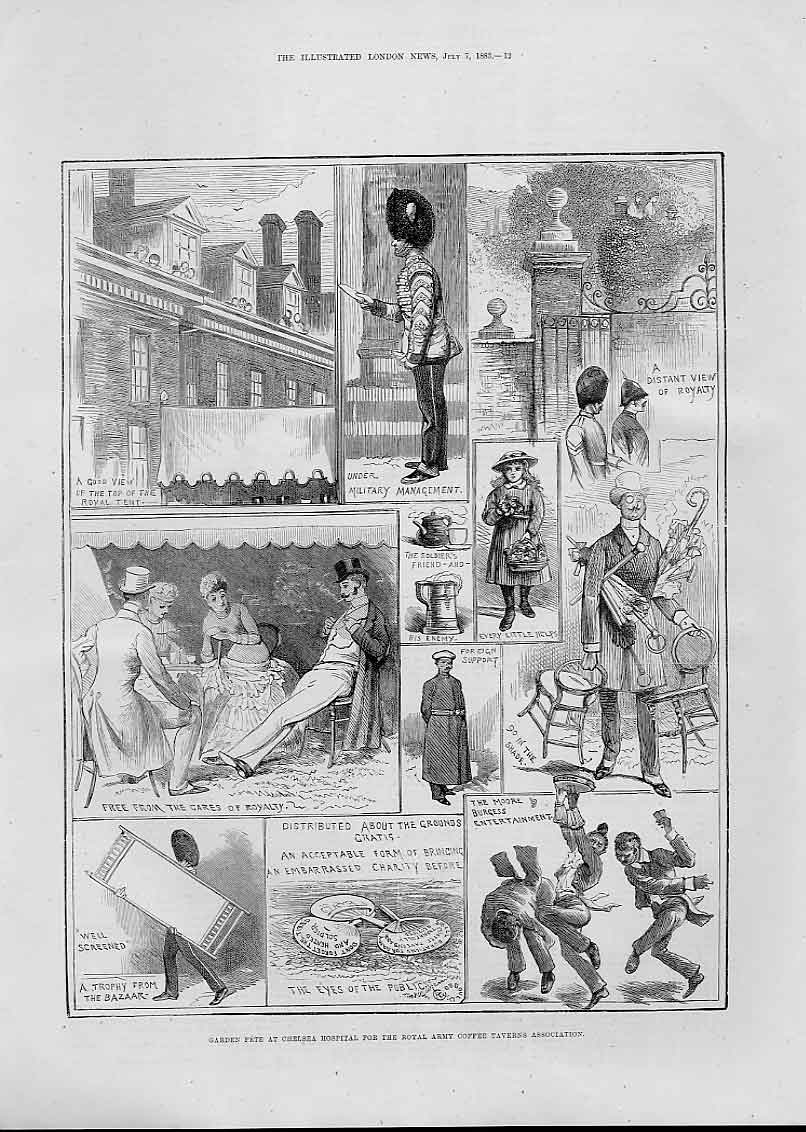 Print Chelsea Hospital Fete For Royal Army Coffee Taverns 12Aaa1 Old Original