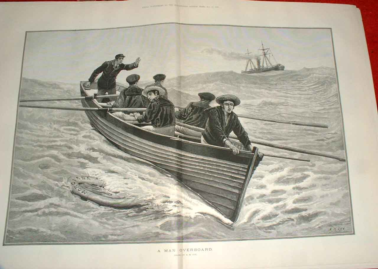 Print Man Overboard By Cox Fine Art 1883 09Taaa1 Old Original