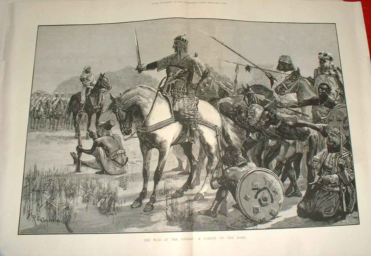 Print A Parley On Road War In Soudan 1883 12Taaa1 Old Original